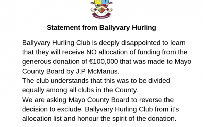 Statement on exclusion of allocation of J.P. McManus funding